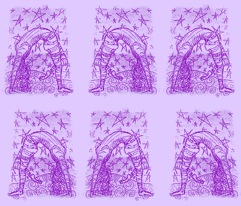 Acrobatty Night moves Print-violet on lilac fabric by cloudsong_art on Spoonflower - custom fabric