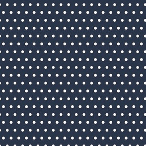 Navy Blue w/ White Polka Dots