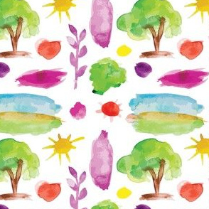 Simple nature design elements, watercolor trace