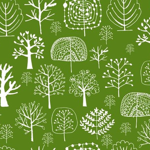 Green forest, doodle trees for your print