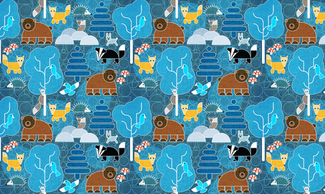 Woodland Animals Circle Contruction fabric by heyjunge on Spoonflower - custom fabric