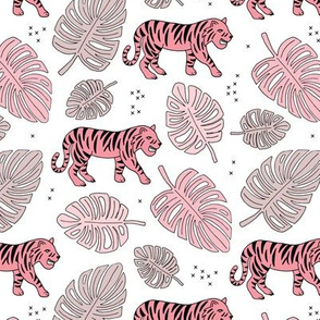 Jungle love tiger safari jungle garden sweet hand drawn tigers pattern soft pink girls