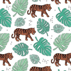 Jungle love tiger safari jungle garden sweet hand drawn tigers pattern green boys