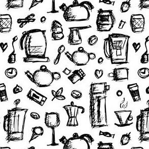 Kitchenware, hand drawn sketch for your print