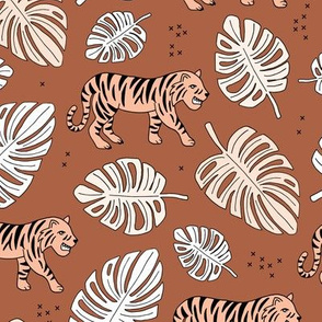 Jungle love tiger safari jungle garden sweet hand drawn tigers pattern fall winter copper