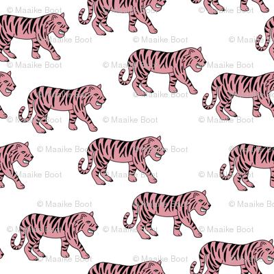 Cool little tiger illustration jungle theme pink on white