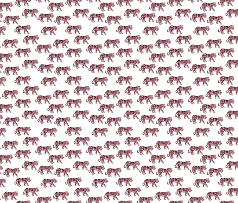 Cool little tiger illustration jungle theme pink on white  fabric by littlesmilemakers on Spoonflower - custom fabric