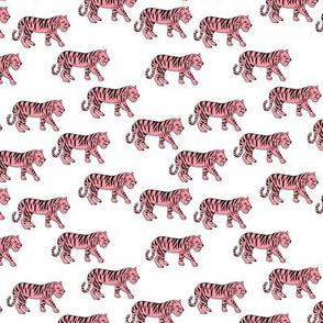 Cool little tiger illustration jungle theme pink on white