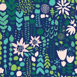Flowers - blue bg