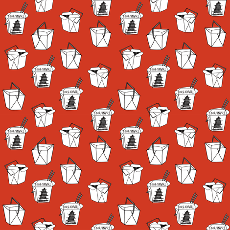chinese takeout // - chinese food, food, junk food, takeout - SMALL version red fabric by andrea_lauren on Spoonflower - custom fabric