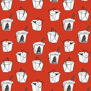 chinese takeout // - chinese food, food, junk food, takeout - SMALL version red