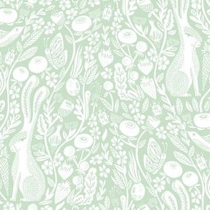 hare // linocut pale green botanical print neutral design andrea lauren linocut woodcut wallpaper