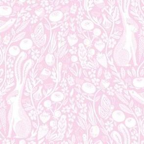 hare // linocut pale pink botanical print neutral design andrea lauren linocut woodcut wallpaper