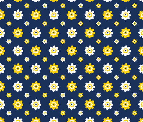 Michigan Wolverines Navy with White and Yellow Flowers fabric by christiebcurator on Spoonflower - custom fabric