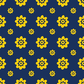 Michigan Wolverines Navy with yellow flowers