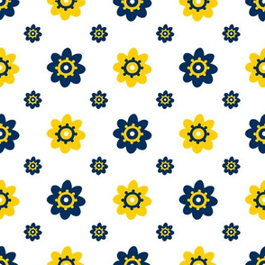 Michigan Wolverines White with Navy and Yellow Flowers