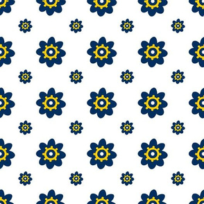 Michigan Wolverines White with Navy Flowers yellow detail