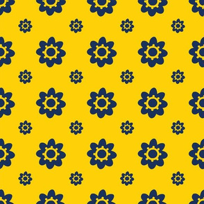 Michigan Wolverines Yellow with Navy flowers