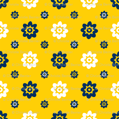 Michigan Wolverines Yellow with Navy and white flowers