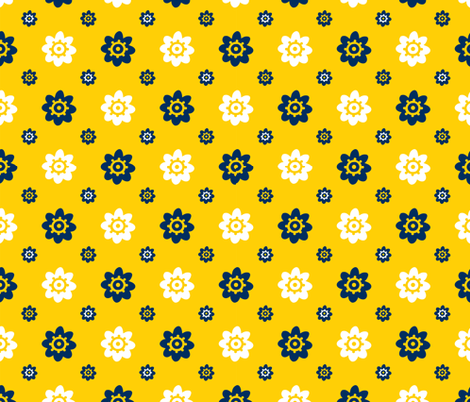 Michigan Wolverines Yellow with Navy and white flowers fabric by christiebcurator on Spoonflower - custom fabric