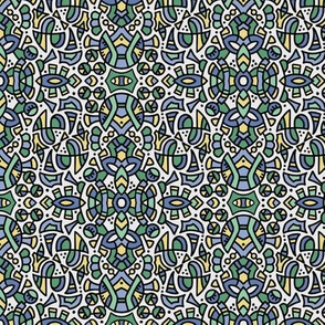 201807B doodle pattern (small scale)  blue green yellow