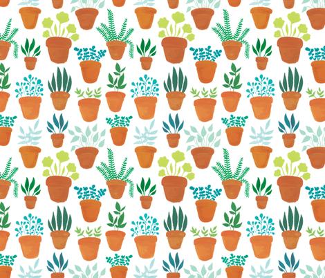 Houseplants fabric by charladraws on Spoonflower - custom fabric