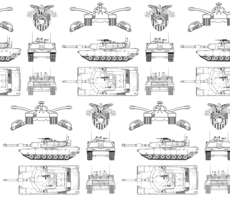 West Point and M1 Abrams tank small fabric by tanks&planesprojects on Spoonflower - custom fabric