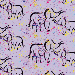 Elephants with Paint Splatter