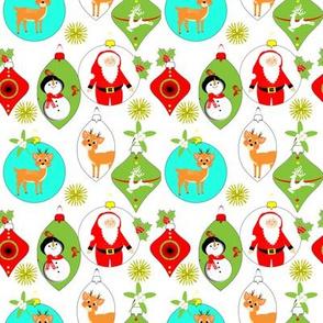 Retro Christmas Baubles Novelty Pattern