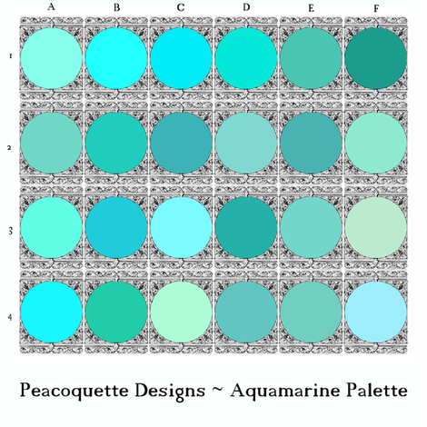 Peacoquette Palette ~ Aquamarine Selection    fabric by peacoquettedesigns on Spoonflower - custom fabric