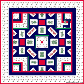 Mah Jong  Red and Green Dragon Scarf35x35