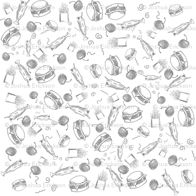 Burger, Cherry, Milkshake and Fries Hand Sketch Black and White