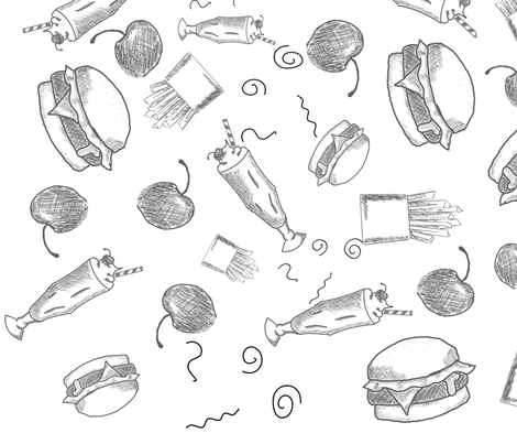 Burger, Cherry, Milkshake and Fries Hand Sketch Black and White fabric by introverted_intuition on Spoonflower - custom fabric