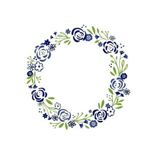monogram blank centered 12 -navy green shabby chic rose wreath