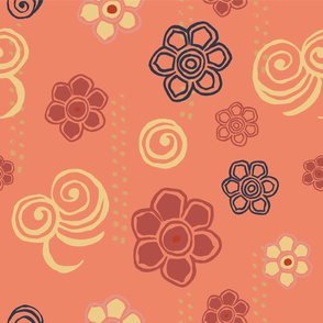 Japanese Flowers - Peach