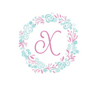 pink 8x8 initial X - shabby chic rose wreath- pink mint