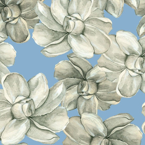 White Flowers on Blue - Large Scale