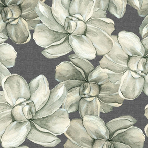White Flowers on Dark Linen - Large Scale