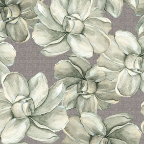 White Flowers on Linen - Large Scale