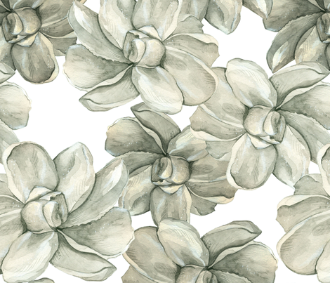 White Flowers on White - Large Scale fabric by taraput on Spoonflower - custom fabric