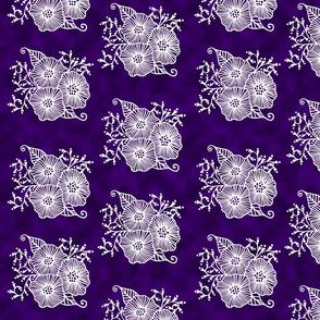 White bouquet on purple