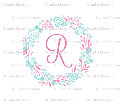 pink 8x8 R -  shabby chic rose wreath pink mint