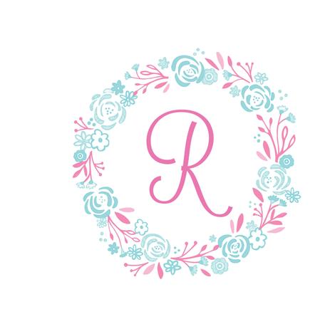 pink 8x8 R -  shabby chic rose wreath pink mint fabric by drapestudio on Spoonflower - custom fabric