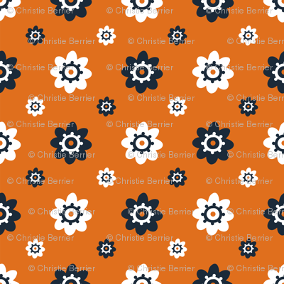Texas Longhorns Burnt Orange with Gray and white flowers