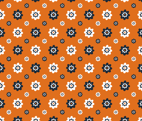 Texas Longhorns Burnt Orange with Gray and white flowers fabric by christiebcurator on Spoonflower - custom fabric