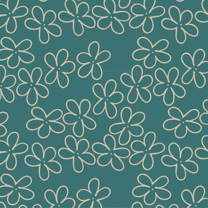 tan flower outline on teal