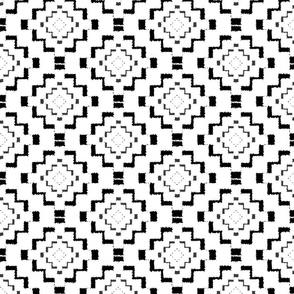 Rough Geometric Aztec Print - Black - Micro Print