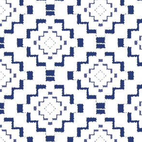 Rough Geometric Aztec Print - Navy Blue