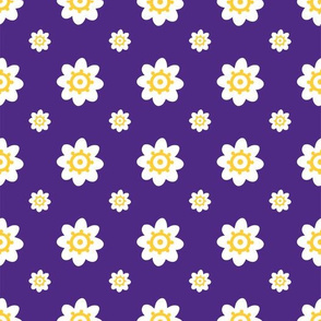 LSU Purple with white flowers yellow detail