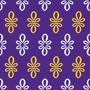 LSU purple with yellow and white oval motif